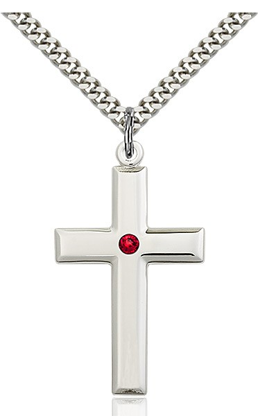 Large Plain Cross Pendant with Birthstone Options - Ruby Red