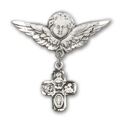 Pin Badge with 4-Way Charm and Angel with Larger Wings Badge Pin - Silver tone