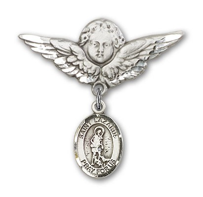 Pin Badge with St. Lazarus Charm and Angel with Larger Wings Badge Pin - Silver tone