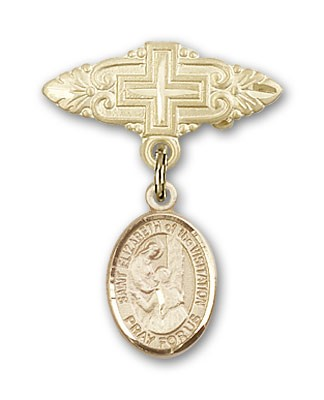 Pin Badge with St. Elizabeth of the Visitation Charm and Badge Pin with Cross - 14K Solid Gold