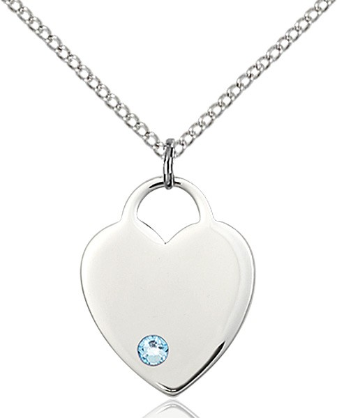 Medium Heart Shaped Pendant with Birthstone Options - Aqua