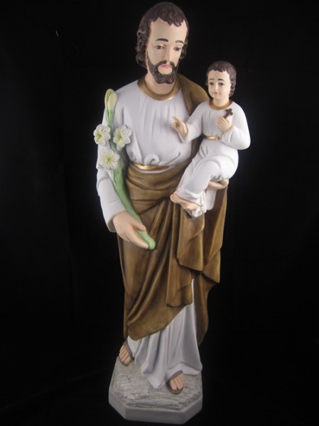 Saint Joseph with Child Statue Hand Painted Marble Composite - 25.75 inch - Full Color
