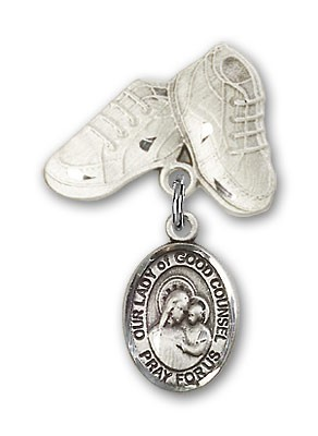 Baby Badge with Our Lady of Good Counsel Charm and Baby Boots Pin - Silver tone
