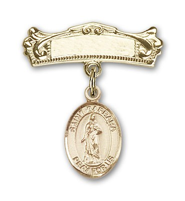 Pin Badge with St. Barbara Charm and Arched Polished Engravable Badge Pin - 14K Solid Gold