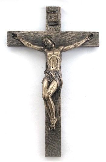 Bronzed Resin Wall Crucifix - 16 Inches - Bronze