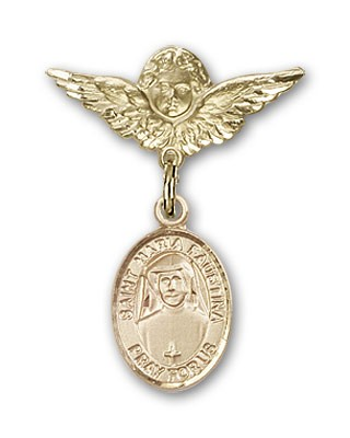 Pin Badge with St. Maria Faustina Charm and Angel with Smaller Wings Badge Pin - 14K Yellow Gold