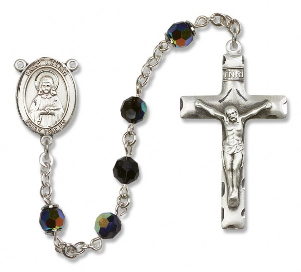 St. Lillian Sterling Silver Heirloom Rosary Squared Crucifix - Black