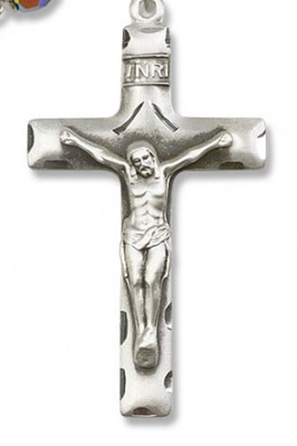 Square Edge Sterling Silver Rosary Crucifix - Sterling Silver