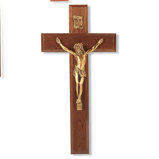Walnut Wood Wall Crucifix Beveled Edge - 10 inch - Brown