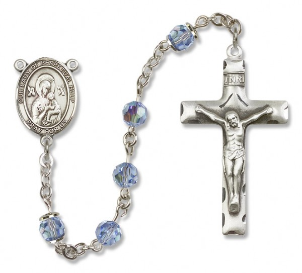 Our Lady of Perpetual Help Rosary Heirloom Squared Crucifix - Light Sapphire