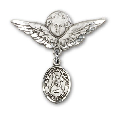 Pin Badge with St. Frances of Rome Charm and Angel with Larger Wings Badge Pin - Silver tone