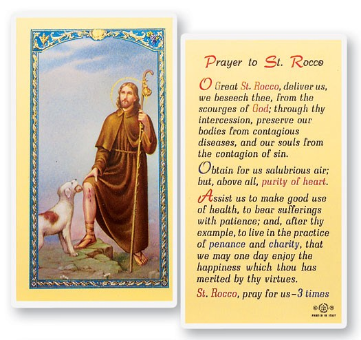Prayer To St. Rocco Laminated Prayer Cards 25 Pack - Full Color