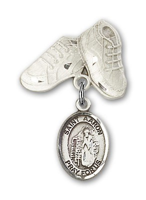 Pin Badge with St. Aaron Charm and Baby Boots Pin - Silver tone