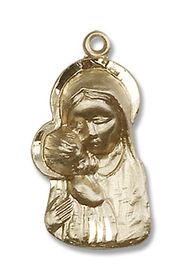 Madonna and Child Medal - 14K Yellow Gold