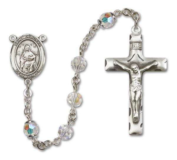 St. Deborah Sterling Silver Heirloom Rosary Squared Crucifix - Crystal