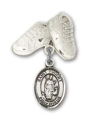 Pin Badge with St. Hubert of Liege Charm and Baby Boots Pin - Silver tone