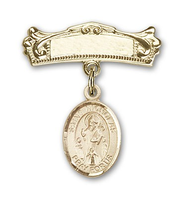 Pin Badge with St. Nicholas Charm and Arched Polished Engravable Badge Pin - Gold Tone