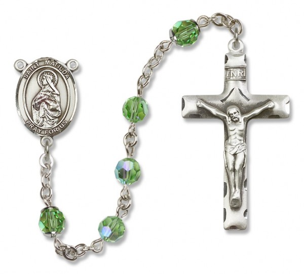 St. Matilda Sterling Silver Heirloom Rosary Squared Crucifix - Peridot