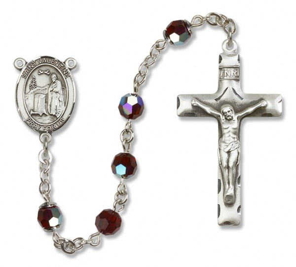 St. Valentine of Rome Sterling Silver Heirloom Rosary Squared Crucifix - Garnet