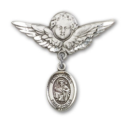 Pin Badge with St. James the Greater Charm and Angel with Larger Wings Badge Pin - Silver tone