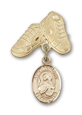 Pin Badge with St. Dorothy Charm and Baby Boots Pin - 14K Yellow Gold