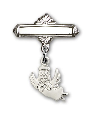 Baby Pin with Guardian Angel Charm and Polished Engravable Badge Pin - Silver tone