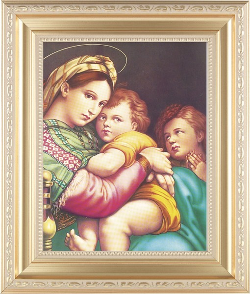 Madonna and Child with Saint Gabriel Framed Print - #138 Frame