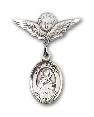 Pin Badge with St. Isidore of Seville Charm and Angel with Smaller Wings Badge Pin - Silver tone