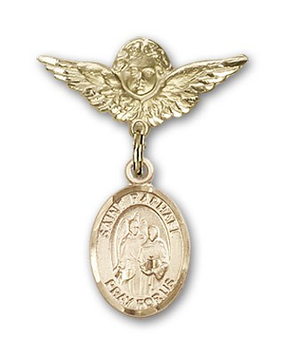 Pin Badge with St. Raphael the Archangel Charm and Angel with Smaller Wings Badge Pin - 14K Solid Gold