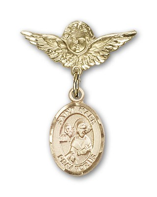 Pin Badge with St. Mark the Evangelist Charm and Angel with Smaller Wings Badge Pin - 14K Yellow Gold