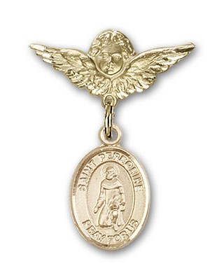 Pin Badge with St. Peregrine Laziosi Charm and Angel with Smaller Wings Badge Pin - Gold Tone
