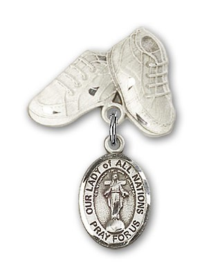 Baby Badge with Our Lady of All Nations Charm and Baby Boots Pin - Silver tone