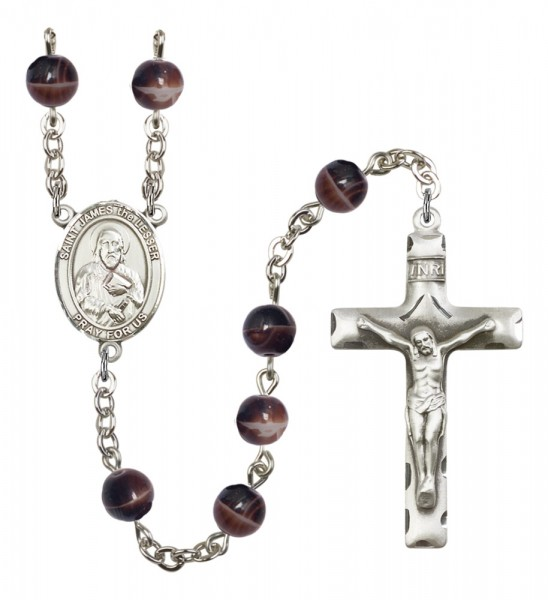 Men's St. James the Lesser Silver Plated Rosary - Brown