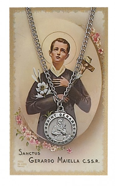 Round st gerard majella medal with prayer card aloadofball Image collections