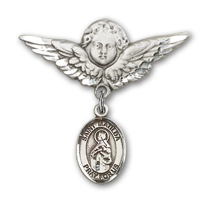 Pin Badge with St. Matilda Charm and Angel with Larger Wings Badge Pin - Silver tone
