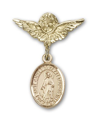 Pin Badge with St. Catherine of Alexandria Charm and Angel with Smaller Wings Badge Pin - 14K Yellow Gold