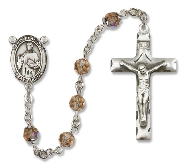 St. Placidus Sterling Silver Heirloom Rosary Squared Crucifix - Topaz