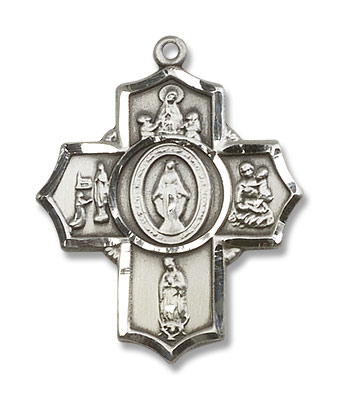 Our Lady Apparitions 5 Way Pendant - Sterling Silver