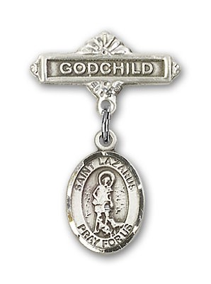 Pin Badge with St. Lazarus Charm and Godchild Badge Pin - Silver tone