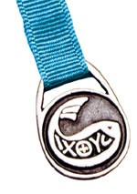 Fish Symbol Bookmark - 12 Ribbon Colors Available - Aqua