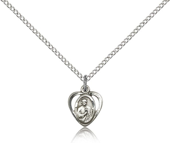 Petite saint jude medal heart shaped petite saint jude medal heart shaped sterling silver mozeypictures Gallery