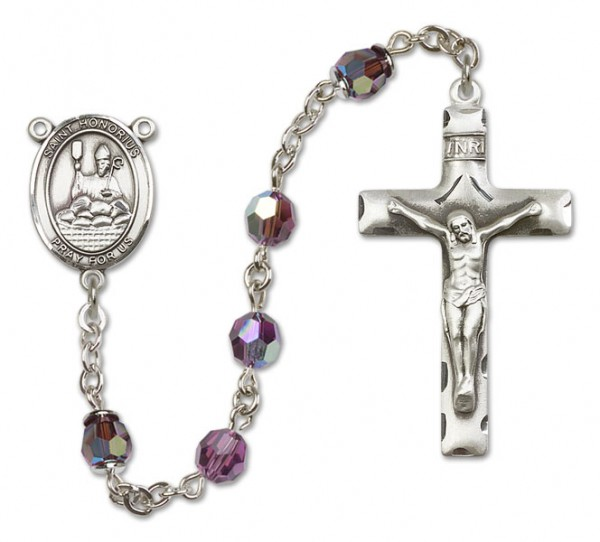 St. Honorius Sterling Silver Heirloom Rosary Squared Crucifix - Amethyst