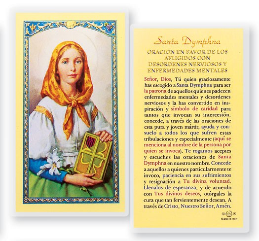 Oracion A Santa Dymphna Laminated Spanish Prayer Cards 25 Pack - Full Color