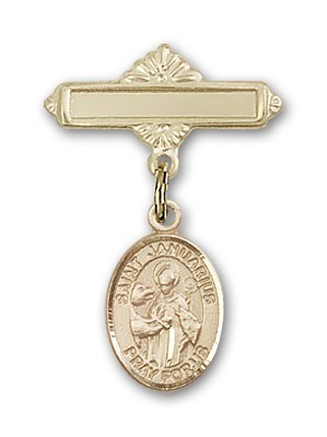 Pin Badge with St. Januarius Charm and Polished Engravable Badge Pin - Gold Tone