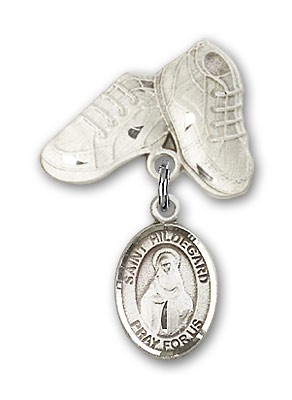 Pin Badge with St. Hildegard Von Bingen Charm and Baby Boots Pin - Silver tone