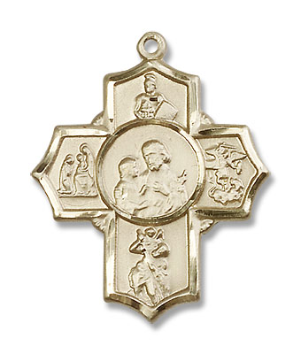 Men's Firefighter 5-Way Medal - 14K Yellow Gold