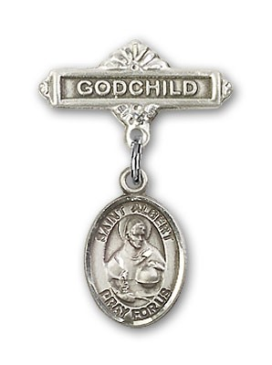 Pin Badge with St. Albert the Great Charm and Godchild Badge Pin - Silver tone