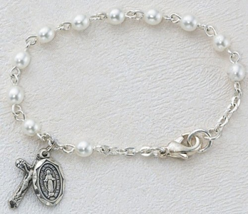 Baby Rosary Bracelet with Pearls - Pearl White