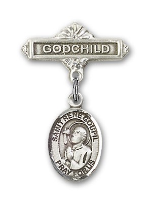 Pin Badge with St. Rene Goupil Charm and Godchild Badge Pin - Silver tone