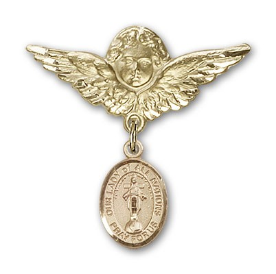 Pin Badge with Our Lady of All Nations Charm and Angel with Larger Wings Badge Pin - 14K Yellow Gold